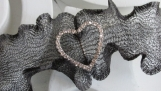 Bracelet- Wire Mesh Bracelet Black -  HEART Rhinestone accent