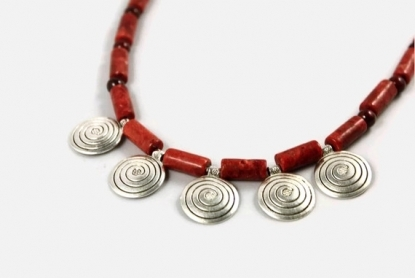 Indian inspired ethnic tribal red sponge coral necklace